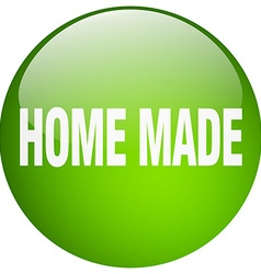 Home made green round gel isolated push button vector