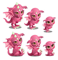 Pink cute dragon of different ages vector