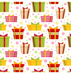 Seamless cartoon pattern with gift boxes vector image vector image