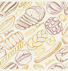 seamless pattern with a variety of bakery products vector image vector image