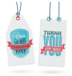 Set of vintage thank you tags vector