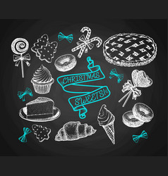 Sweets set sketch on chalkboard background vector