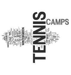 Tennis camps text background word cloud concept vector