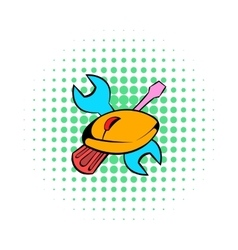 Tools and mouse icon comics style vector image