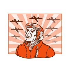 World War Two Pilot Airman Retro vector image vector image