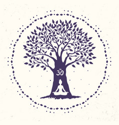 tree yoga om vector image