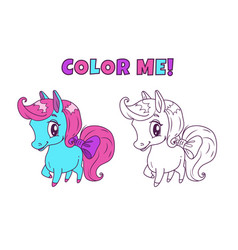 Little cute horse for coloring book vector