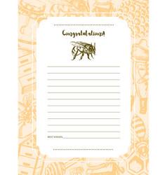 Bee garden - hand drawn template card vector