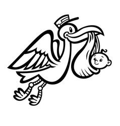 Cartoon flying stork bird delivering a baby vector