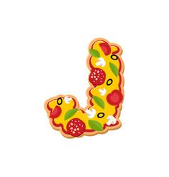 Letter j pizza font italian meal alphabet vector