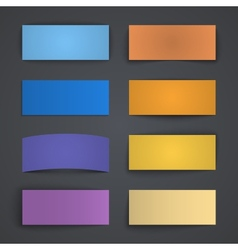 Set of blank colorful paper banners with shadows vector image