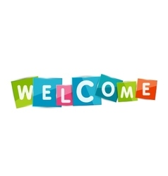 Welcome word with each letter on separate square vector