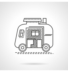 Camping trailer flat line icon vector