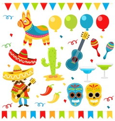Mexican design elements vector