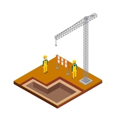 Crane constructer barrier icon isometric design vector