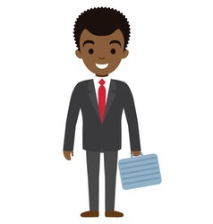 afro american businessman character with case flat vector image vector image