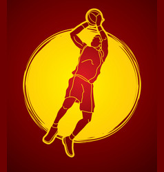 basketball player jumping and prepare shooting vector image vector image
