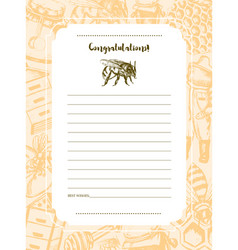 Bee garden - hand drawn template card vector