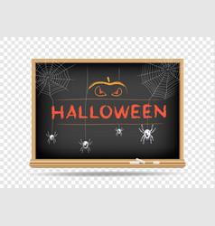 blackboard halloween spider pumpkin vector image