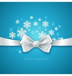 Blue christmas background ribbon with white silk vector