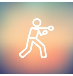 Boxing man punch thin line icon vector
