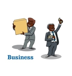 Cartoon businessmen with money and box vector image