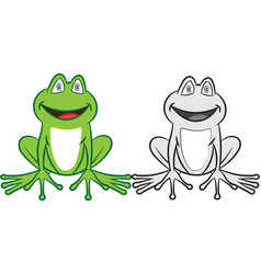 Cartoon frog with colorful and black-white vector