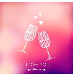champagne silhouette Valentines Day background vector image