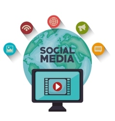 globe monitor social media isolated icon design vector image
