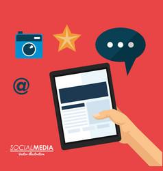 Hand holding smartphone social media application vector