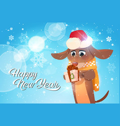 happy new year poster with dog in santa hat vector image