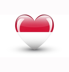 Heart-shaped icon with national flag of Indonesia vector image vector image
