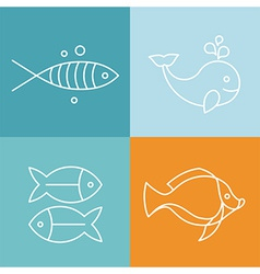 Line fish logos and signs vector