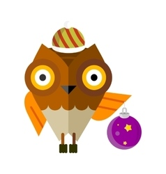 Owl with christmas ball isolated cartoon bird vector