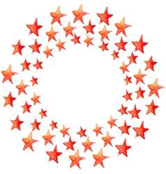 Red watercolor stars circle vector