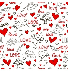 seamless love and heart background vector image