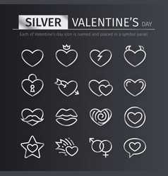 silver valentines day icons set vector image