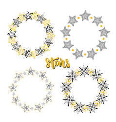 Stars frame background decoration set sketchy vector
