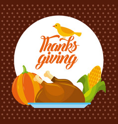 Thanksgiving dinner menu food poster greeting vector