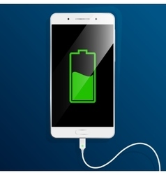 White smartphone is charging the cable connected vector