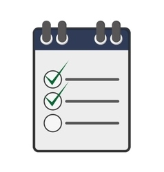 wired notebook with check list icon vector image vector image