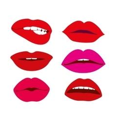 Woman lips icons set vector image