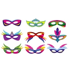 Isolated color mardi gras masks collection vector