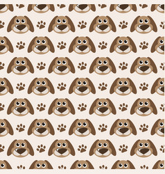 seamless pattern with cute dogs and paw prints vector image