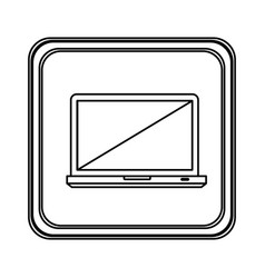 figure emblem laptop icon vector image