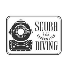scuba underwater diving est 1969 vintage logo vector image