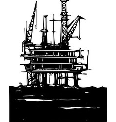 Offshore oil rig vector