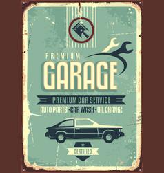 Garage vintage tin sign vector