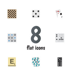 Flat icon play set of bones game multiplayer ace vector