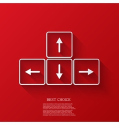 Arrows buttons keyboard on red background vector